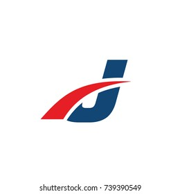 j logo, j initial overlapping swoosh letter logo blue and red