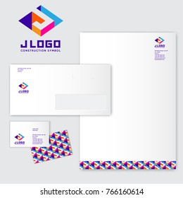 J logo. J monograms. Colored three-dimensional J letter with a white background. Identity. Letterhead, envelope, pattern and business card