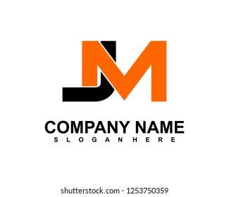 J M Initial logo template vector