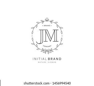 J M JM Beauty vector initial logo, handwriting logo of initial signature, wedding, fashion, jewerly, boutique, floral and botanical with creative template for any company or business.