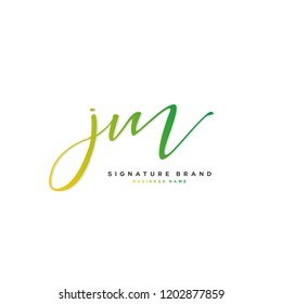 J M JM Initial letter handwriting and  signature logo concept design