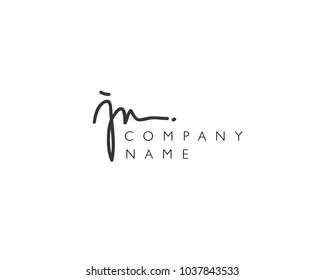 J N Initial handwriting logo