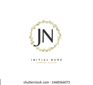 J N JN Beauty vector initial logo, handwriting logo of initial signature, wedding, fashion, jewerly, boutique, floral and botanical with creative template for any company or business.