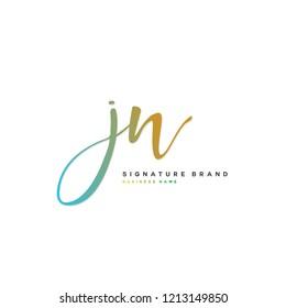 J N JN Initial letter handwriting and  signature logo concept design