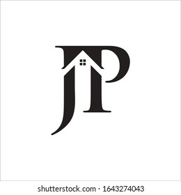 J P initial building logo vector concept