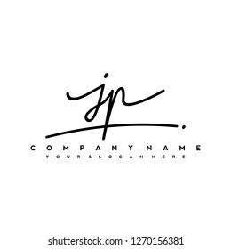 J P Initial handwriting logo vector