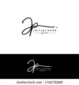 J P JP Initial letter handwriting and signature logo.
