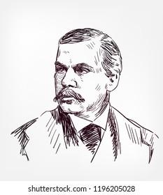 j p morgan vector sketch portrait