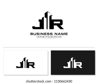 J R Initial building logo concept