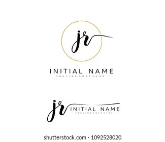 J R Initial handwriting logo vector. Hand lettering for designs.