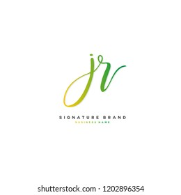 J R JR Initial letter handwriting and  signature logo concept design