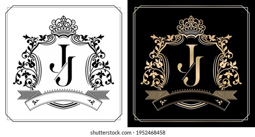 J J royal emblem with crown, initial letter and graphic name Frames Border of floral designs with two variation colors, set of gold framed labels with flowers for insignia, initial letter wedding name