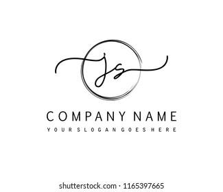 J S Initial handwriting logo vector