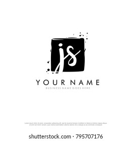 J S initial square logo template vector