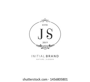 J S JS Beauty vector initial logo, handwriting logo of initial signature, wedding, fashion, jewerly, boutique, floral and botanical with creative template for any company or business.