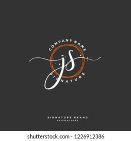 J S JS Initial letter handwriting and  signature logo.