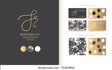 J, S and r letters combination logo. Company brand identity. Hand calligraphy logo. Business card template included. Classic style branding.