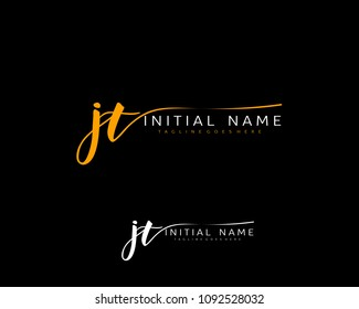 J T Initial handwriting logo vector. Hand lettering for designs.