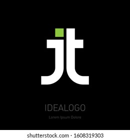 J and T, initials or logo for personal and corporate identity. JT - monogram or logotype. Vector design element or icon with green dot.