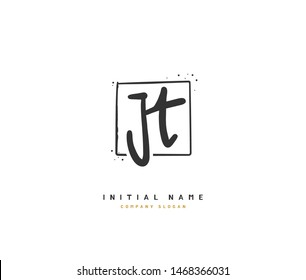 J T JT Beauty vector initial logo, handwriting logo of initial signature, wedding, fashion, jewerly, boutique, floral and botanical with creative template for any company or business.