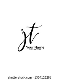 J T JT initial logo signature vector. Handwriting concept logo.