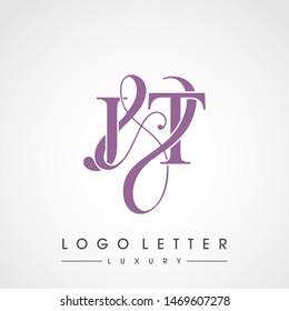J & T / JT logo luxury initial vector mark template.