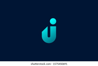 J, U, I, UI, IU Logo. Letter Design for initial your company brand icon Vector illustrator with blue Colors.