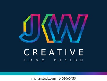 J W Logo. JW Letter Design Vector with Magenta blue and green yellow color.