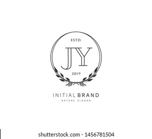 J Y JY Beauty vector initial logo, handwriting logo of initial signature, wedding, fashion, jewerly, boutique, floral and botanical with creative template for any company or business.