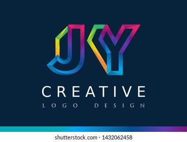 J Y Logo. JY Letter Design Vector with Magenta blue and green yellow color.