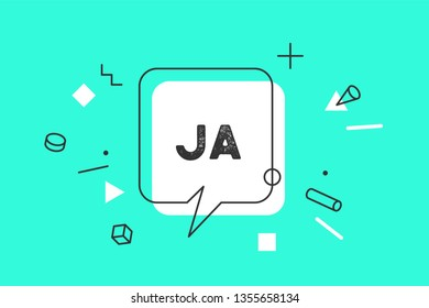 Ja. Banner, speech bubble, poster and sticker concept, memphis geometric style with text in German Ja - Yes. Icon message ja cloud talk for banner, poster, web. Color background. Vector Illustration