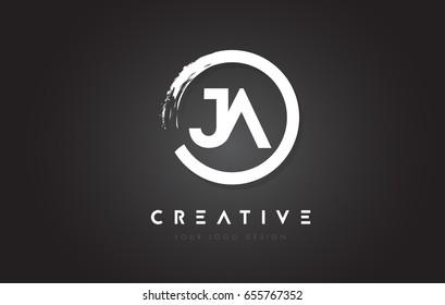 JA Circular Letter Logo with Circle Brush Design and Black Background.