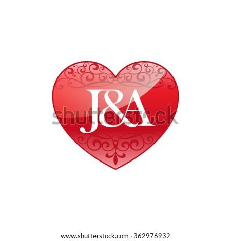 JA Initial Letter Couple Logo Ornament Image vectorielle de stock ...