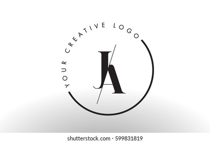 JA Letter Logo Design with Creative Intersected and Cutted Serif Font.