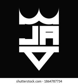 JA Logo monogram with crown shape isolated on Black background
