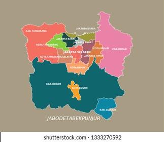 Jabodetabek (Jakarta Greater Area) editable color vector format.