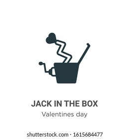 Jack in the box glyph icon vector on white background. Flat vector jack in the box icon symbol sign from modern valentines day collection for mobile concept and web apps design.