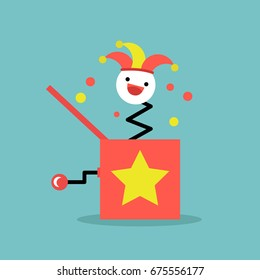 Jack in the box toy / flat editable vector illustration, clip art