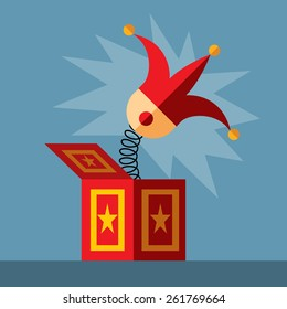 jack in the box toy, springing out of a box. Flat vector illustration.