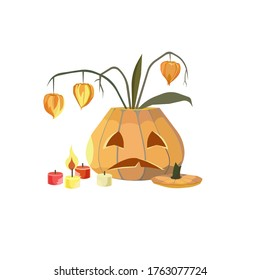Jack O'Latern, candles, orange physalis made as a vector illustration that can be good as an original art or an element of design for prints on clothes, bags, note and sketchbooks or a sticker, logo.