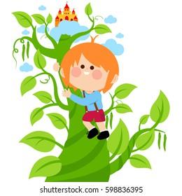 Jack climbing on the magic beanstalk. Vector illustration
