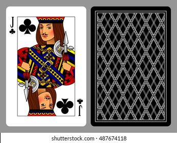Jack of Clubs playing card and the backside background. Colorful original design. Vector illustration
