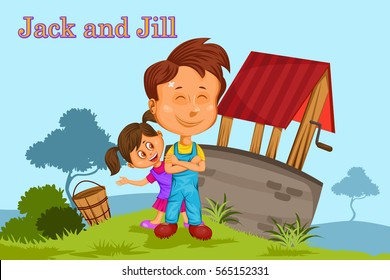 Jack and Jill, Kids English Nursery Rhymes book illustration in vector
