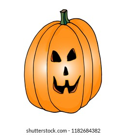 Jack is a lantern. Pumpkin for Halloween. Harvesting, autumn. Sabbat, the holiday of Halloween.