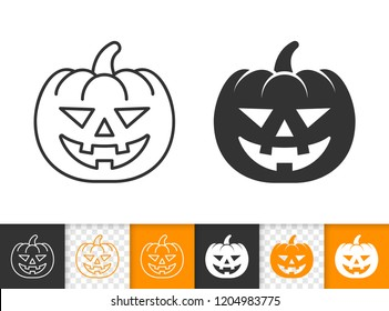 Jack O lantern black linear and silhouette icons. Thin line pumpkin face sign. Halloween Character outline pictogram isolated on white, transparent background. Vector Icon shape, simple symbol closeup