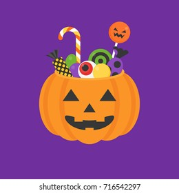 Jack o lantern bowl of halloween for trick or treat icon and candy, lollipop in flat design