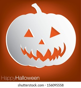 Jack o' Lantern concave Halloween card in vector format.