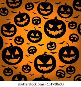 Jack O Lantern Silhouette Background / Halloween Pumpkin Wallpaper - vector illustration eps10