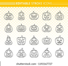 Jack O Lantern thin line icon set. Outline web sign kit of pumpkin face. Halloween linear icons of autumn character, scary mouth, avatar design. Editable stroke Lantern simple contour vector symbol