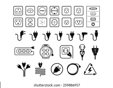 Jack and plug set, vectors
